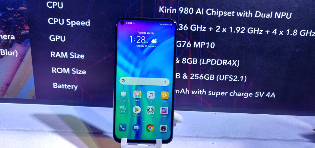 The newly launched Honor View 20 smartphone, in New Delhi on Jan 29, 2019.