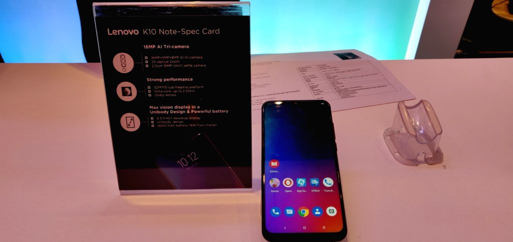 The newly launched Lenovo K10 Note smartphone on display, in New Delhi on Sep 5, 2019.