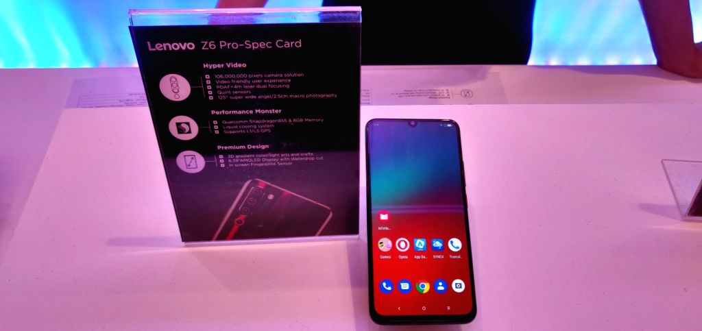 The newly launched Lenovo Z6 Pro smartphone on display, in New Delhi on Sep 5, 2019.