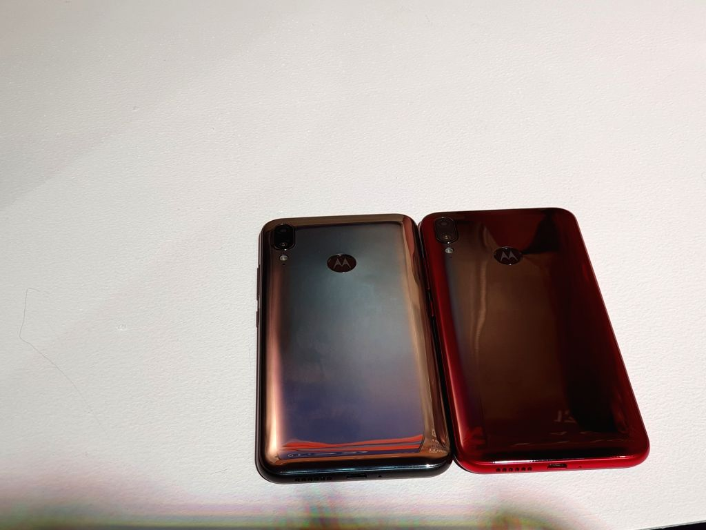 The newly launched Motorola Moto E6s smartphones on display, in New Delhi on Sep 16, 2019.