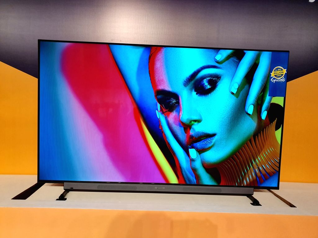 The newly launched Motorola Smart TV on display, in New Delhi on Sep 16, 2019.