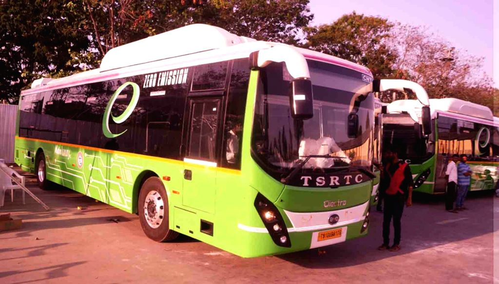 The newly launched Olectra-BYD electric buses at Miyapur depot in Hyderabad on March 5, 2019.