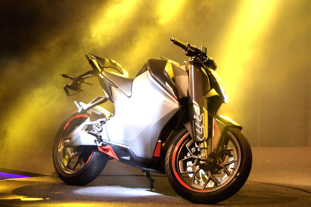 The newly launched Ultraviolette Automotive F77 electric motorcycle in Bengaluru on Nov 13, 2019.