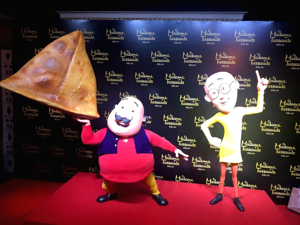 The newly launched wax statues of cartoon characters 'Motu' and 'Patlu' at Madame Tussauds museum in New Delhi on June 4, 2019.