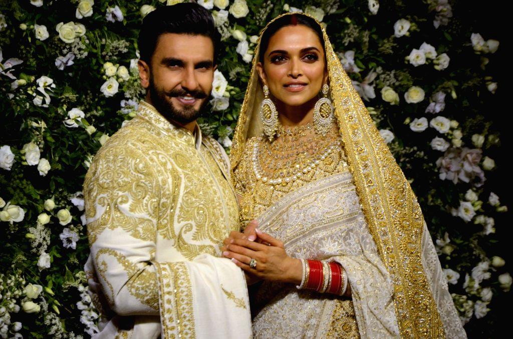 The newlywed actors Deepika Padukone and Ranveer Singh at their wedding reception at Grand Hyatt in Mumbai on Nov 28, 2018. - Deepika Padukone and Ranveer Singh