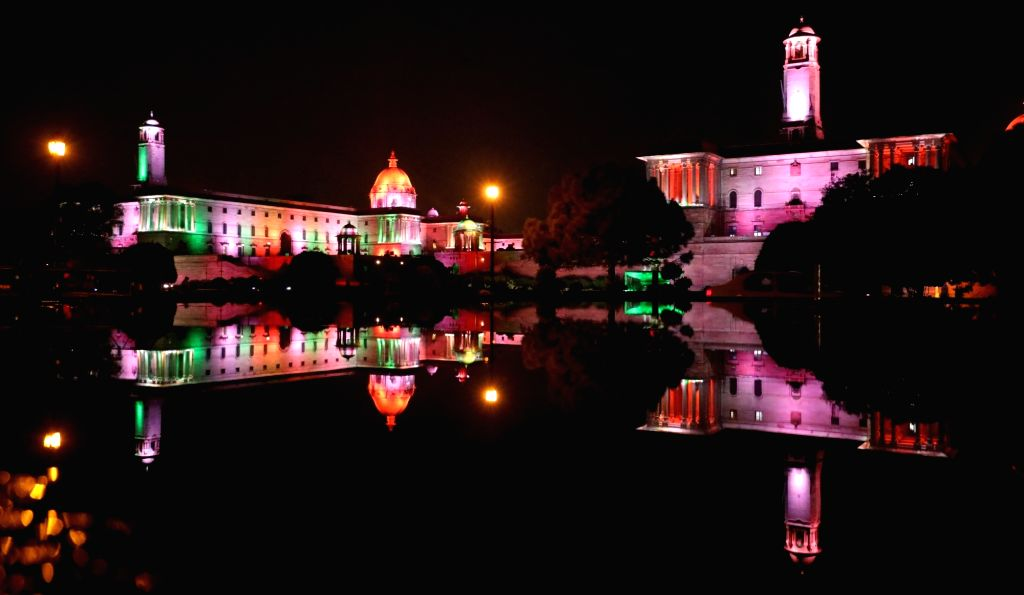 The North and the South Block illuminated in tricolor on the eve of the 74th Independence Day in New Delhi on Aug 14, 2020.
