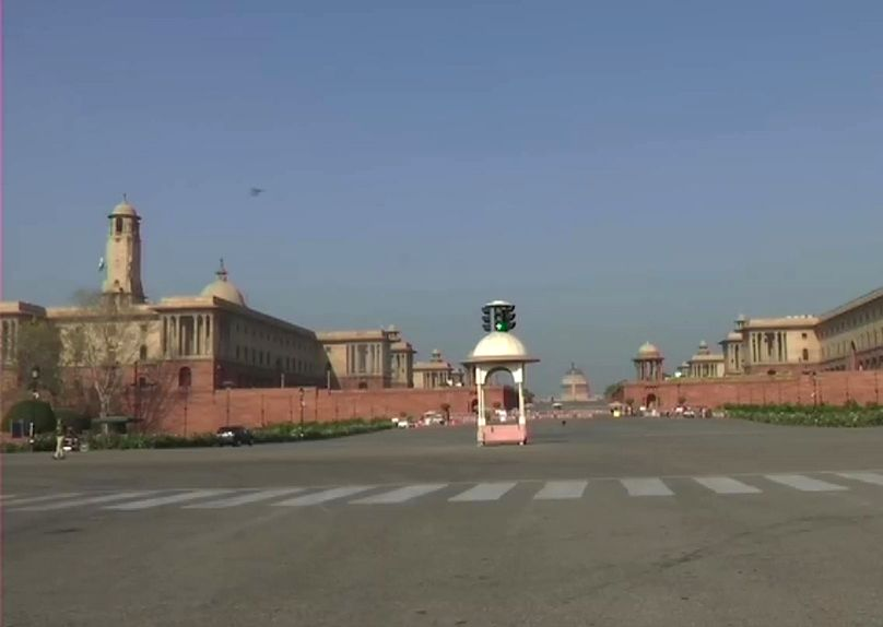 The North Block and South Block bear a desrted look during 'Janata Curfew' imposed to contain the spread of covid-19.
