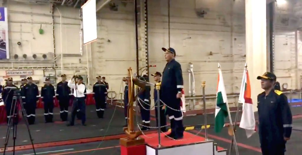 The office of Defence Minister Rajnath Singh released a video clip of him on Monday in which he is seen singing the anthem of INS Vikramaditya on board the aircraft carrier along with crew of the ship. - Rajnath Singh