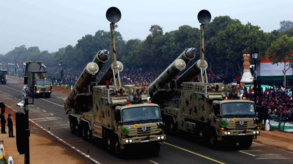 The only Super Sonic Cruise Missile presently available in the world, the Brahmos Missile System, moving on Rajpath during the full dress rehearsal for the Republic Day Parade 2018, in New ...