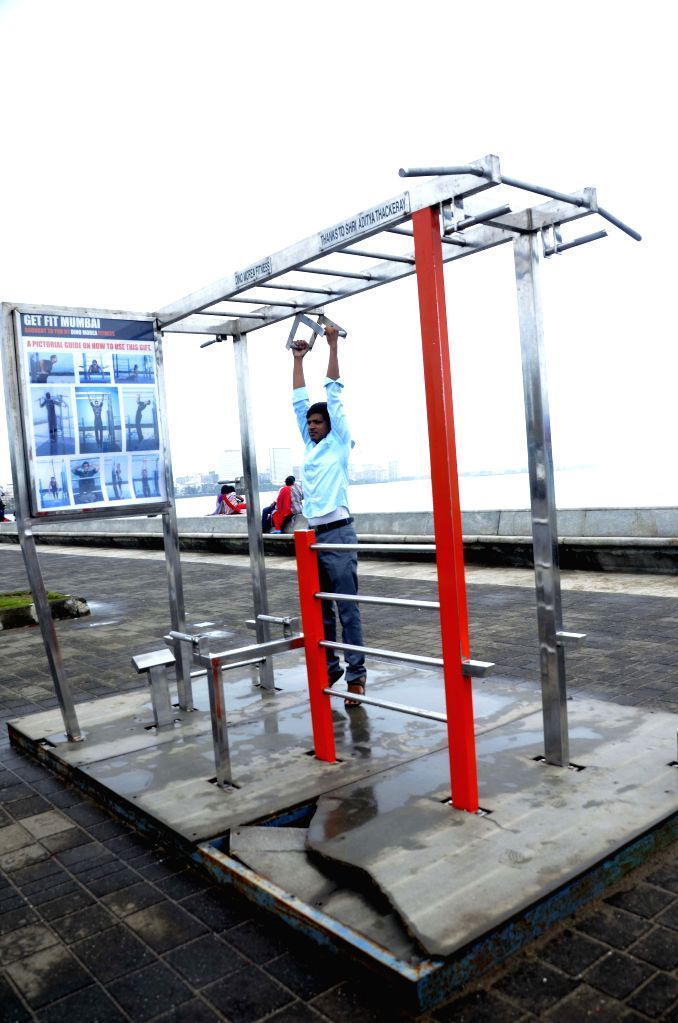 The open gym, constructed by DN Fitness, at Marine Drive in Mumbai, on Aug 8, 2015.