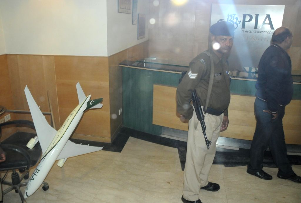 The Pakistan International Airlines (PIA) office that was vandalised by Hindu extremists in New Delhi on Jan 14, 2016.