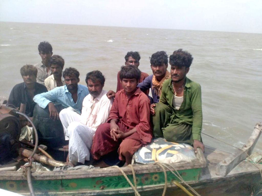 The Pakistanis who were intercepted by BSF in Sir Creek area adjoining Gujarat's Kutch district close to the Pakistan maritime border on Oct 5, 2016.
