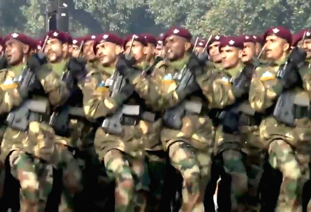 The Para Special Forces contingent marches down the Rajpath during the 71st Republic Day parade, in New Delhi on Jan 26, 2020.