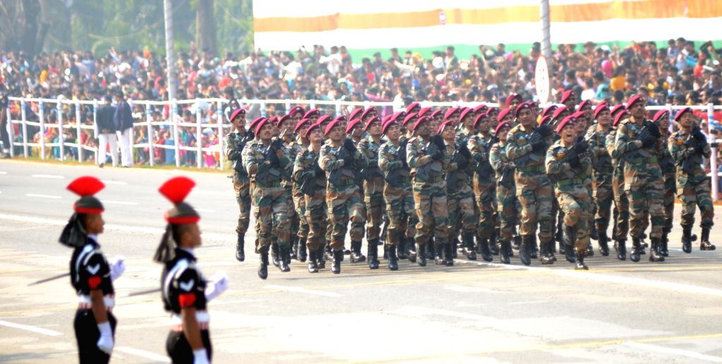 The Para Special Forces contingent marches past Red Road during the 71st Republic Day parade in Kolkata on Jan 26, 2020.
