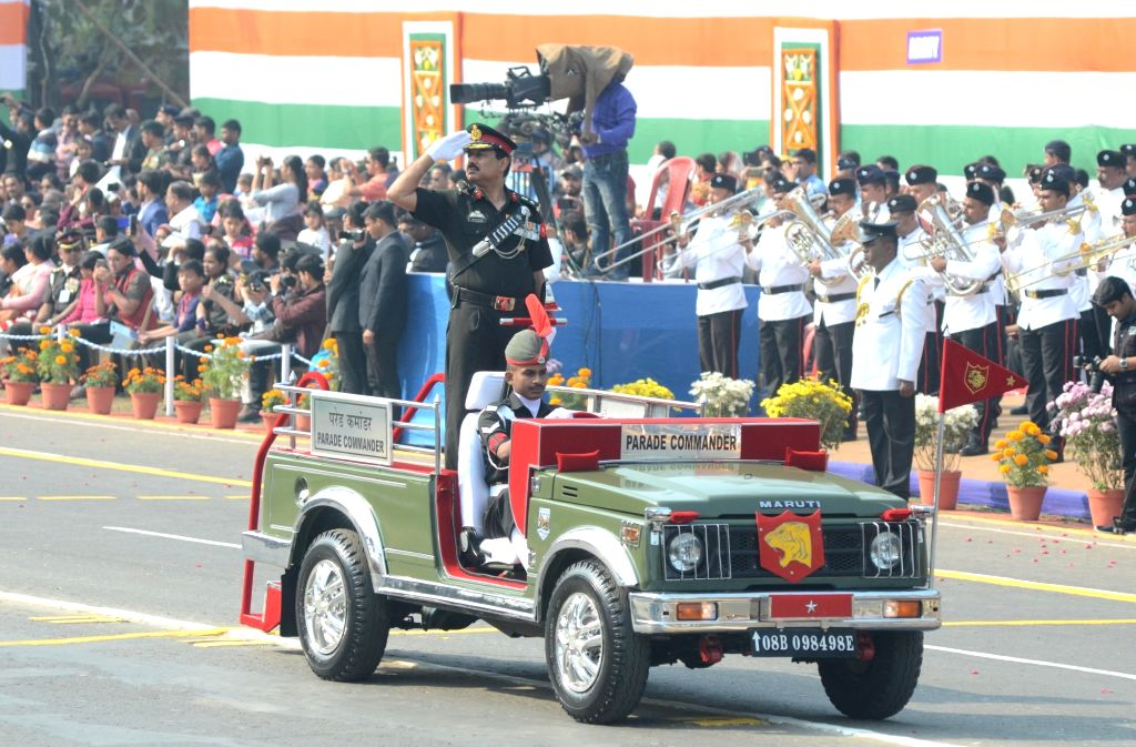 The Parade Commander's jeep moves past Red Road during the 71st Republic Day parade in Kolkata on Jan 26, 2020.