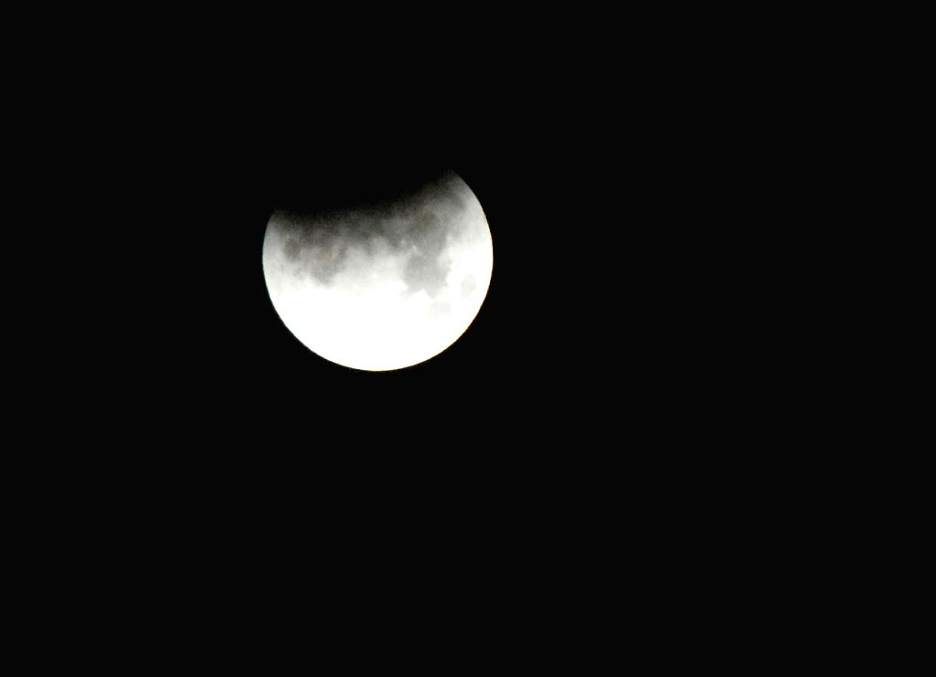 The partial lunar eclipse as seen from Mathura on July 17, 2019.