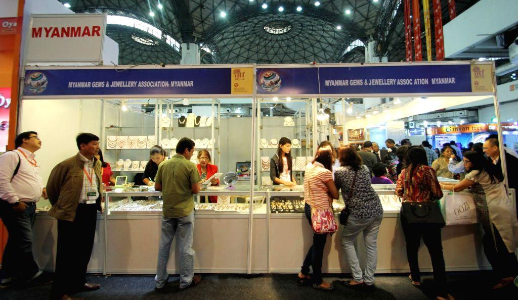 The pavilion of Myanmar at the 35th India International Trade Fair (IITF) 2015, Pragati Maidan in New Delhi, on Nov 14, 2015.