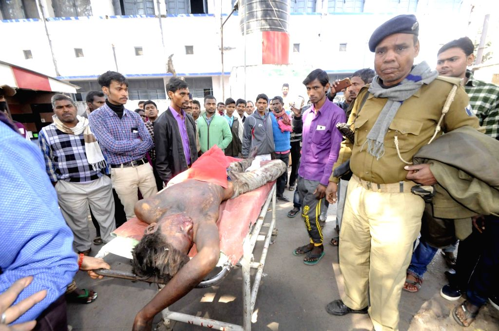 The person injured in an explosion at a Jain dharamshala in Bihar's Arrah being wheeled into Patna Medical College and Hospital (PMCH) for treatment on Feb 15, 2018.