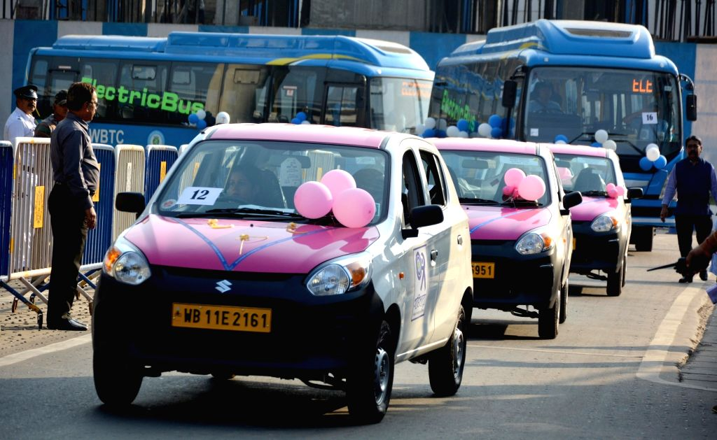 The pink taxis and electric buses that were flagged off by West Bengal Chief Minister Mamata Banerjee at Nabanna, in Howrah on Feb 20, 2019. - Mamata Banerjee