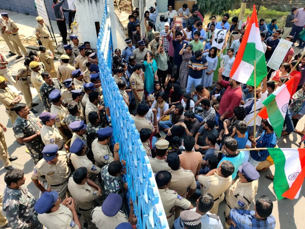 The police detained a group of students of the University of Hyderabad when they tried to take out march to 'save the Constitution' to mark the Republic Day, on Jan 26, 2020.