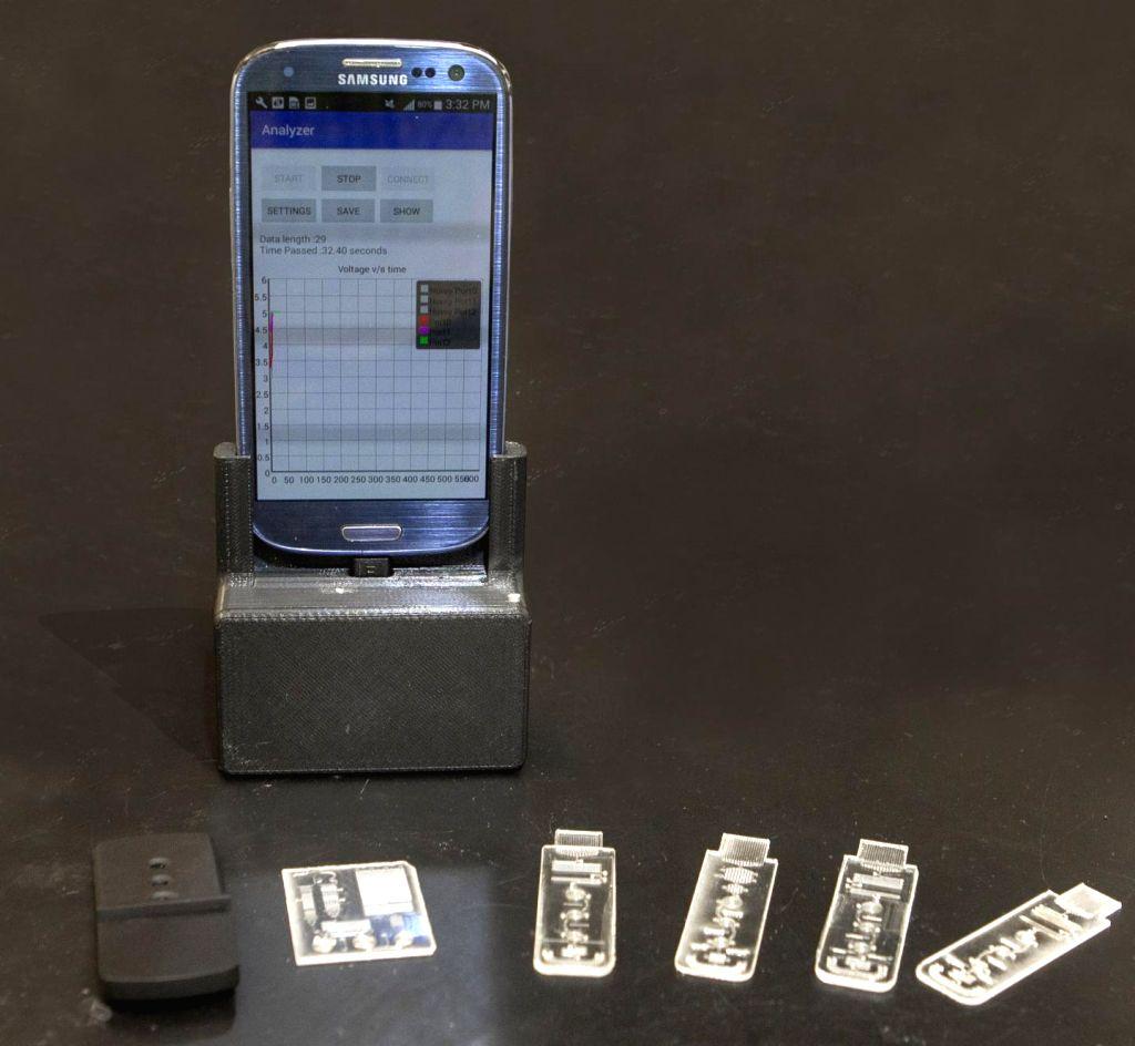 The portable lab that plugs into your smartphone to diagnose diseases like malaria or coronavirus. (Photo: Joseph Fuqua II/UC Creative Services).