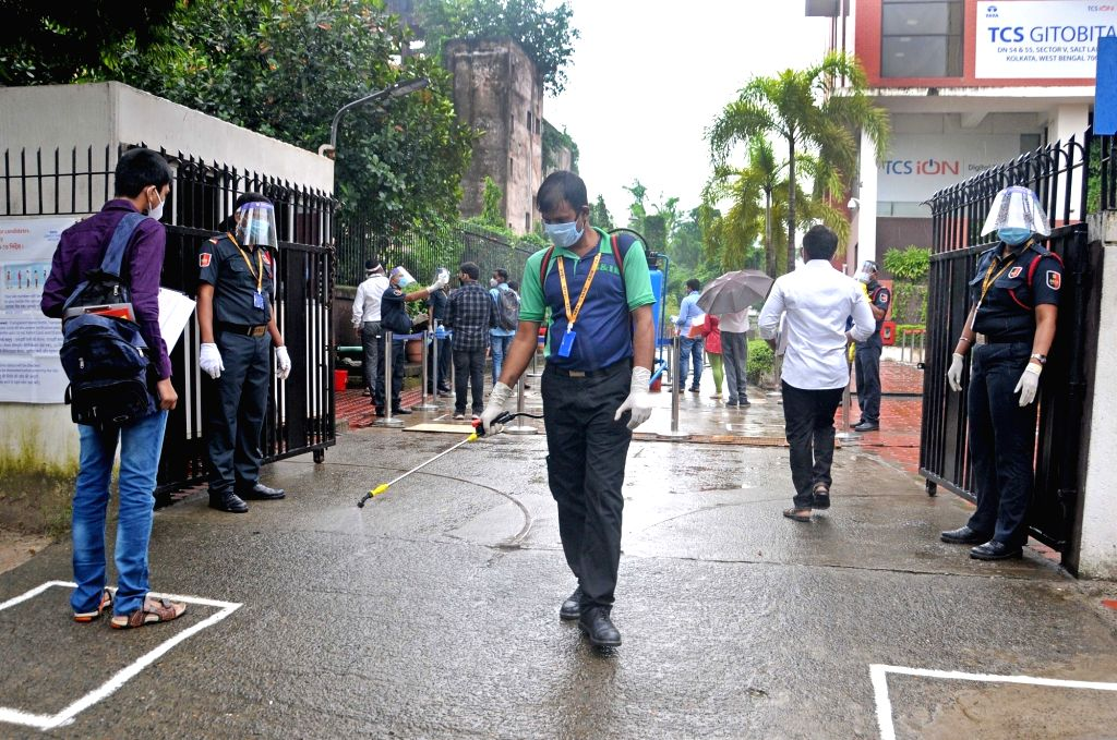 The premises of the exam center being sanitised as candidates appear for the Joint Entrance Examination (JEE) Mains 2020 amid the COVID-19 pandemic, in Kolkata on Sep 1, 2020.