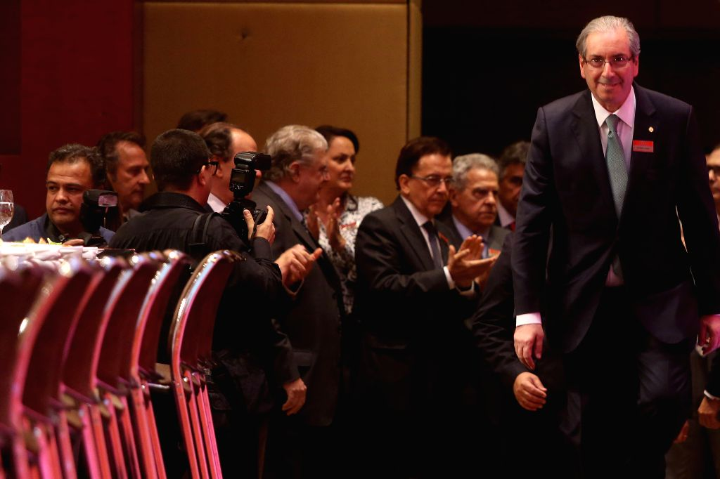 The President of Brazilian Deputies Chamber Eduardo Cunha arrives for a meeting with entrepreneurs in Sao Paulo, Brazil, on July 27, 2015. The President of the ...