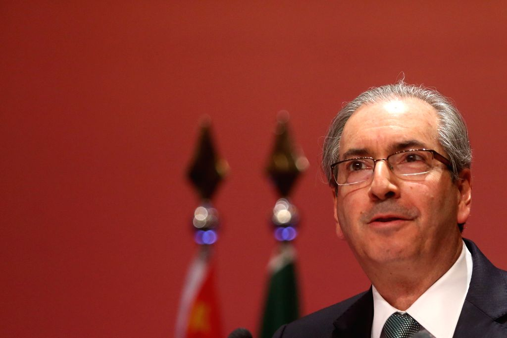 The President of Brazilian Deputies Chamber Eduardo Cunha attends a meeting with entrepreneurs in Sao Paulo, Brazil, on July 27, 2015. The President of the Lower ...