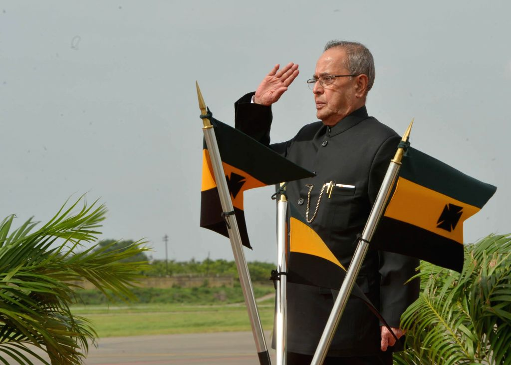 The President of India, Shri Pranab Mukherjee, during a Guard of Honour at Begumpet Airport, as the first visit of the President after become the Telangana State on August 2, 2014. - Shri Pranab Mukherjee