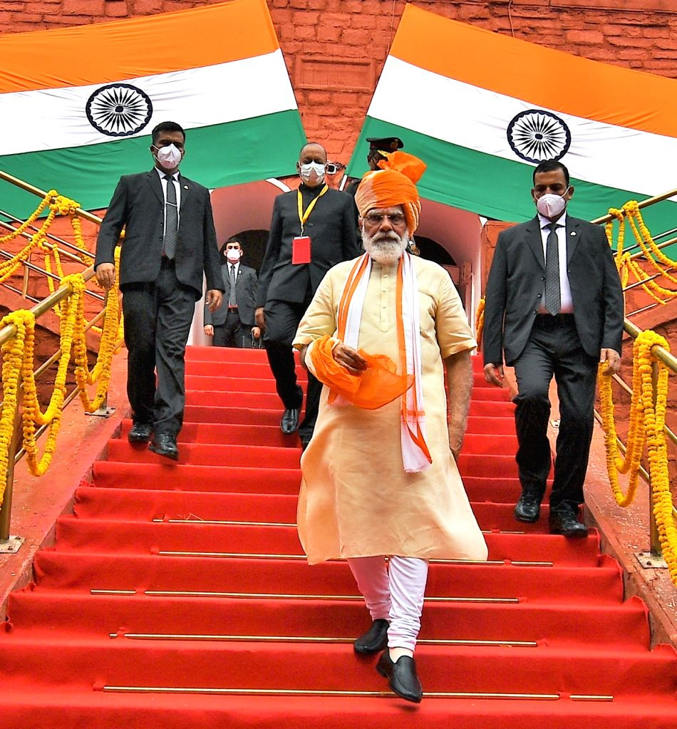 The Prime Minister, Shri Narendra Modi after addressing the Nation on the occasion of 74th Independence Day from the ramparts of Red Fort, in Delhi on August 15, 2020. - Shri Narendra Modi