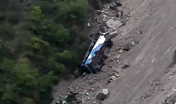 The private bus that fell into a gorge near Panjpula in Himachal Pradesh's Dalhousie killing six persons on April 27, 2019.