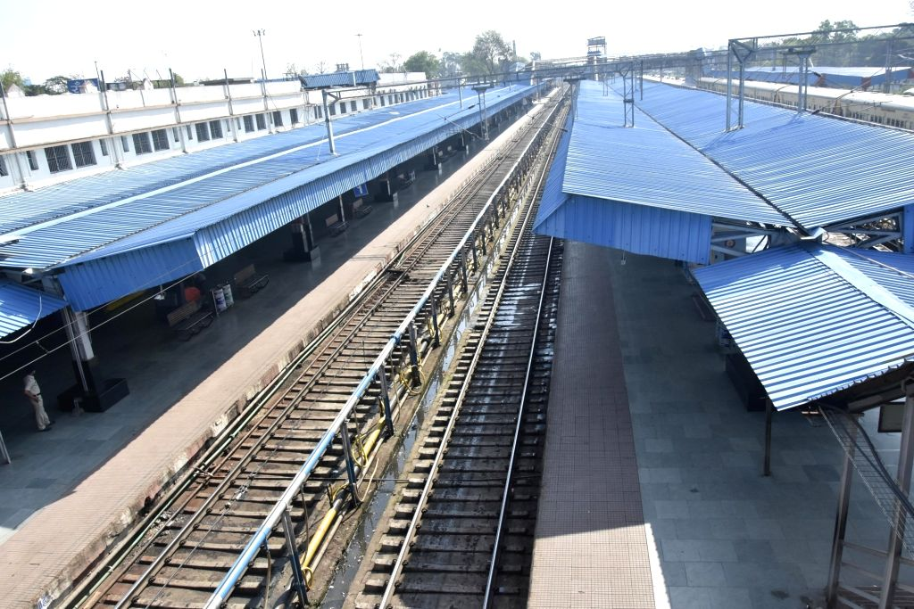 The  Ranchi railway station bears a desrted look during the nationwide 'Janata Curfew' imposed in the wake of increasing cases of COVID-19 amid coronavirus pandemic, in  Ranchi on March 22, ...