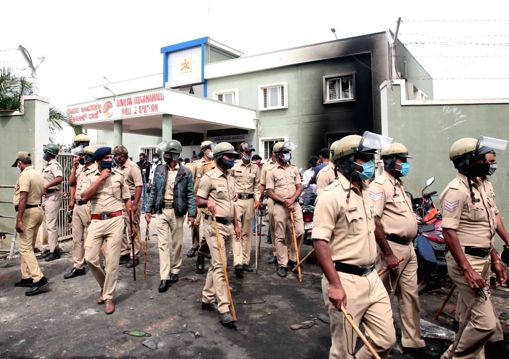 The ransacked Kadugondanahalli Police Station following an arson late on Tuesday night that resulted after an inflammatory social media post by Congress legislator Akanda Srinivas Murthy's ...