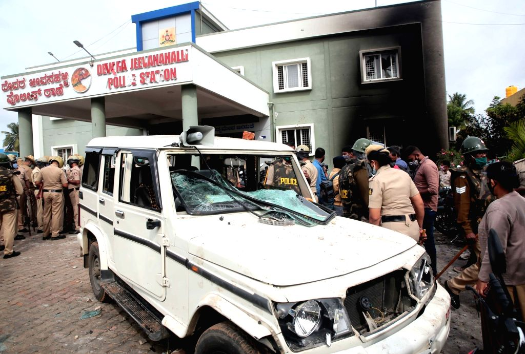 The ransacked Kadugondanahalli Police Station following an arson late on Tuesday night that resulted after an inflammatory social media post by Congress legislator Akanda Srinivas Murthy's ...