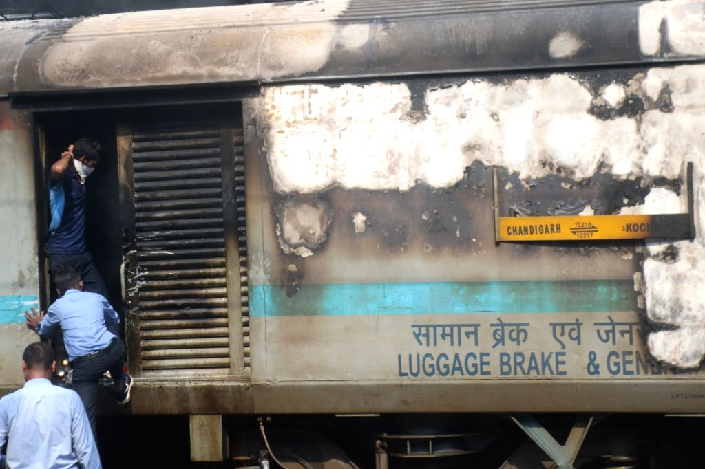 The rear power car of the Chandigarh-Kochuvalli Express where a fire broke out at 1.40 p.m. at platform No. 8. of the New Delhi Railway Station, on Sep 6, 2019. No one was injured in the ...