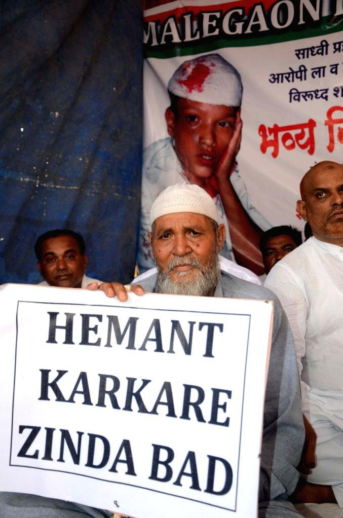 The relatives of 2006 Malegaon bomb blast victims stage a demonstration against clean chit to Sadhvi Pragya Thakur in Mumbai, on May 24, 2016.