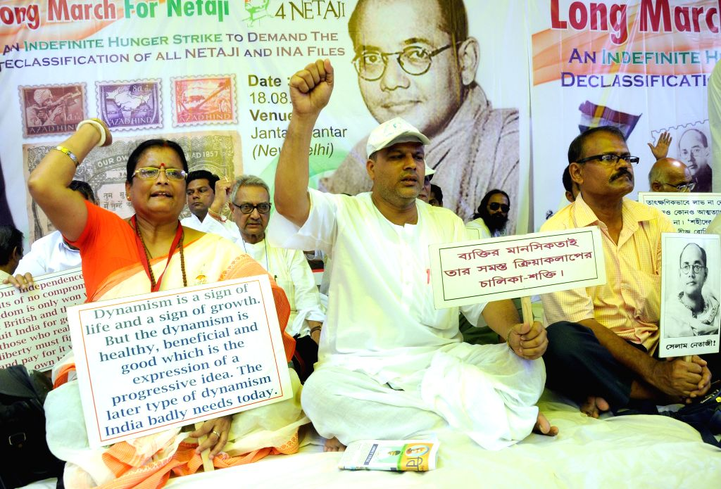 The relatives of ​Netaji Subhas Chandra Bose stage a demonstration at Jantar Mantar to demand declassification of files related to him; in New Delhi, on Aug 18, 2015.