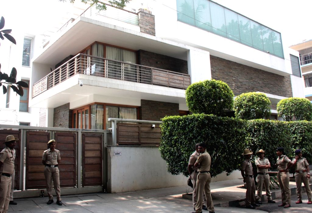 The residence of Congress leader G. Parameshwara where Income-Tax (I-T) Department sleuths conducted raids for alleged tax evasion by education institutions owned by him and his family, in ...