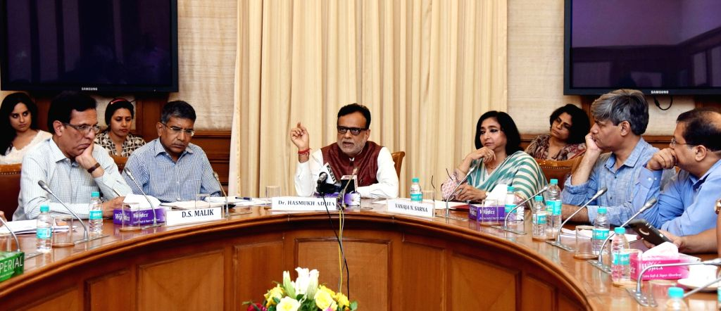 The Revenue Secretary, Dr. Hasmukh Adhia addressing a press conference on issues related to the implementation of GST, in New Delhi, on July 4, 2017.