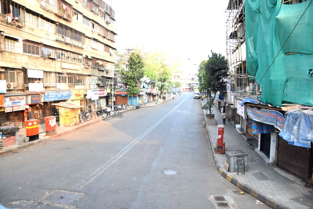 The road adjoining Dadar Central Railway Station bears a deserted look on Day 4 of the lockdown imposed in the wake of the coronavirus pandemic, in Mumbai on March 28, 2020.