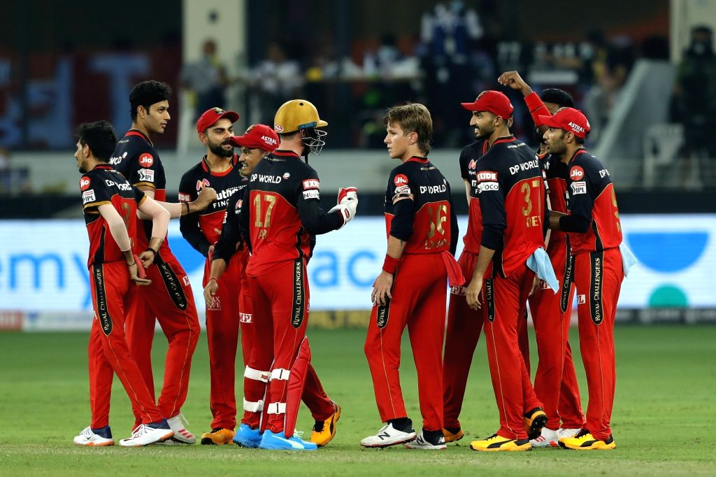 The Royal Challengers Bangalore celebrates the wicket of Hardik Pandya of Mumbai Indians during match 10 of season 13 of the Dream 11 Indian Premier League (IPL) between The Royal Challengers ...