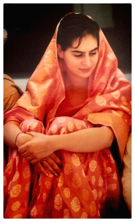 The #SareeTwitter trend that has been viral for the past couple of days got a huge boost on Wednesday after Congress General Secretary Priyanka Gandhi Vadra shared a throwback picture from her wedding day. (Photo: Twitter/@priyankagandhi)
