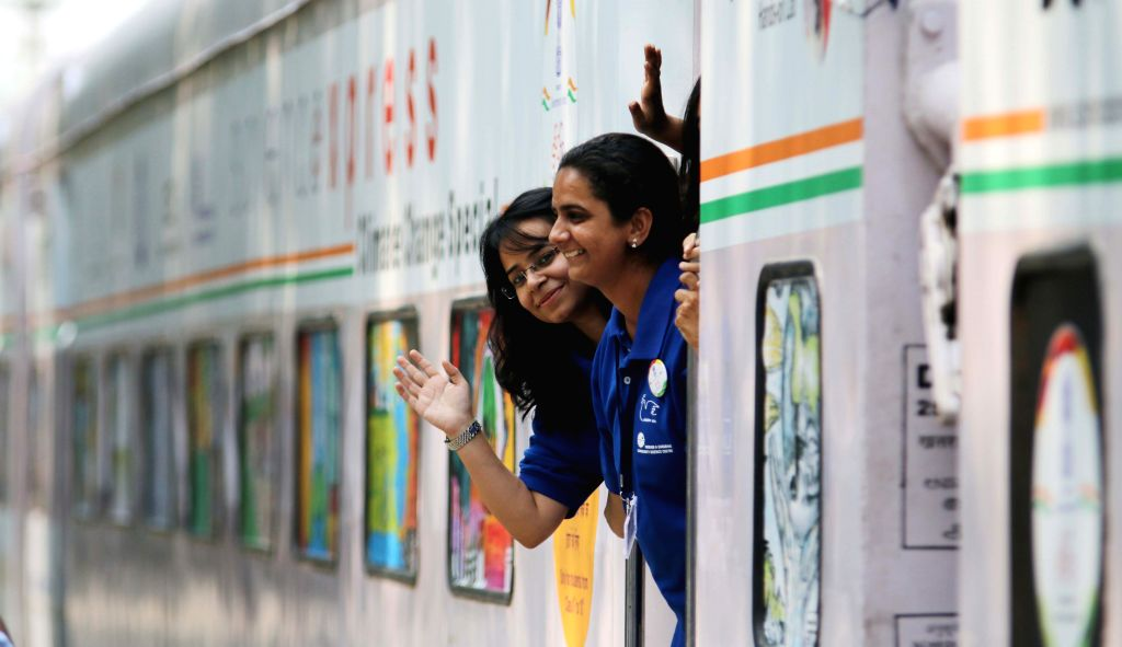 The Science Express - Climate Change Special at Safdarjan Railway Station in New Delhi, on Oct 15, 2015.