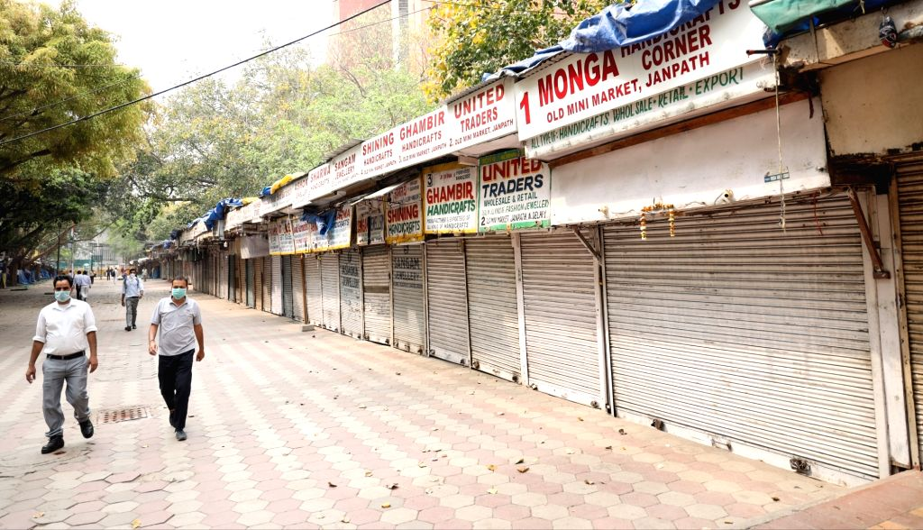 The shops at Janpath market remain closed ahead of Sunday's nationwide 'Janata Curfew' imposed in the wake of increasing number of cases of COVID-19 (coronavirus), in New Delhi on March ...