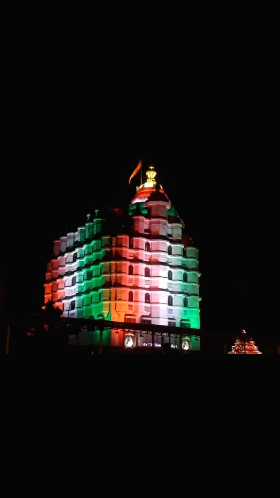 The Siddhivinayak Temple illuminated in tricolor on the 71st Republic Day, in Mumbai on Jan 26, 2020.