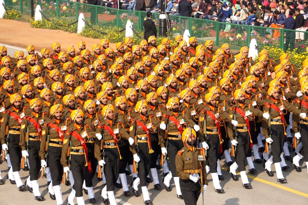 The Sikh regiment marches past Rajpath during the 71st Republic Day parade, in New Delhi on Jan 26, 2020.