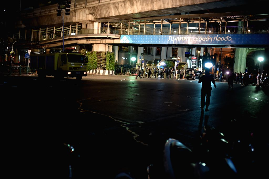 The site of an explosion is blocked off by police in downtown Bangkok, capital of Thailand, on Aug. 17, 2015. At least 15 people were killed and more than 80 others ...