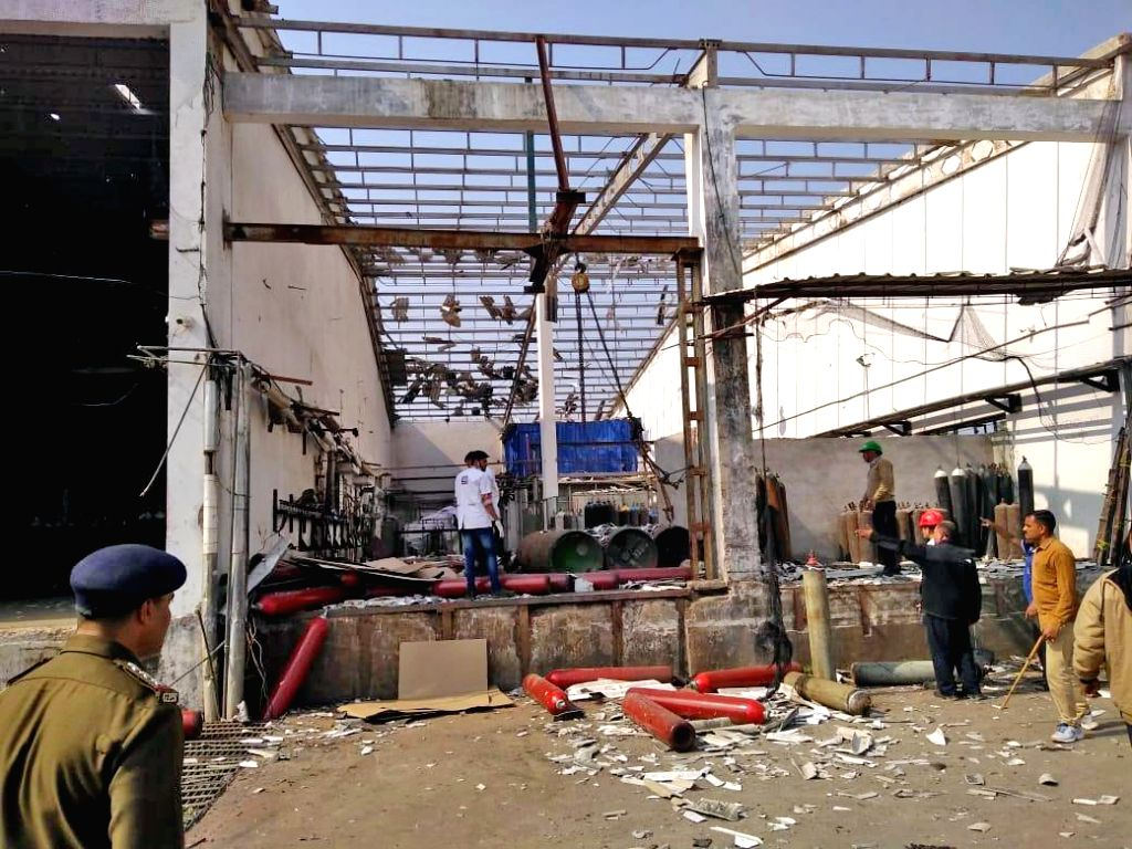 The site of the blast at an industrial and medical gas manufacturing company, that killed five and injured many, in Gujarat's Vadodara district on Jan 11, 2020. The explosion took place at ...