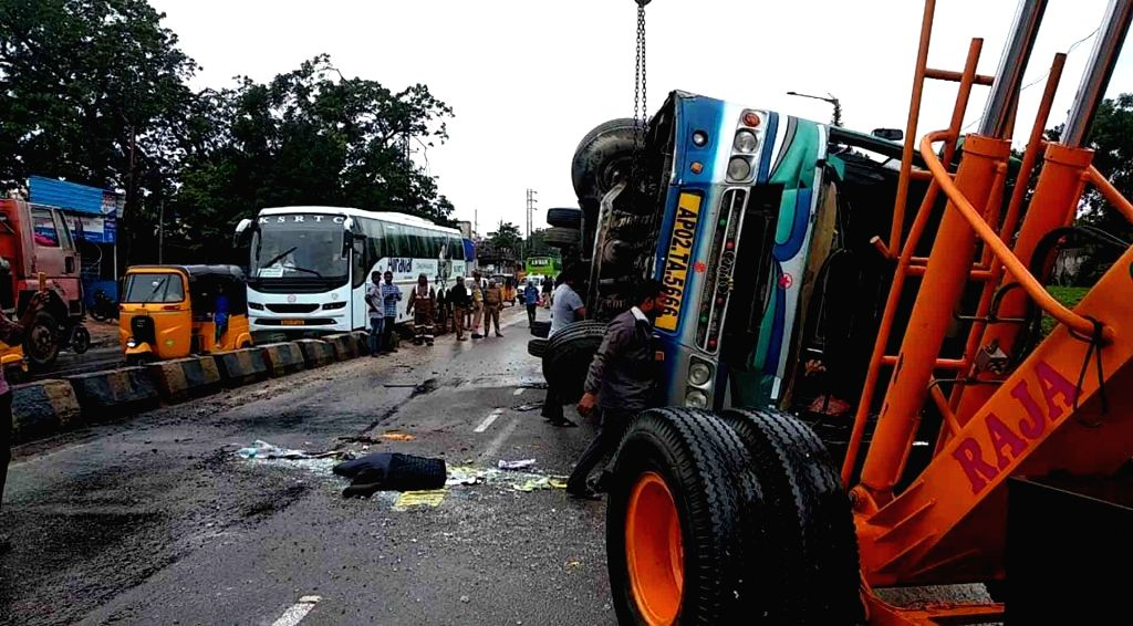 The site where a bus turned turtle after ramming into another vehicle near Nehru Zoological Park under Bahadurapura police station limits in Hyderabad on Aug 3, 2019. 15 passengers were ...