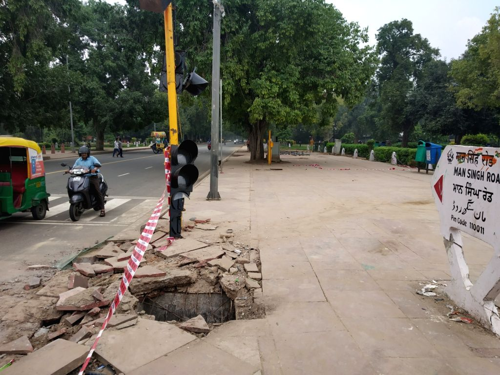 The site where a dumper truck lost control and ran over autos and pedestrians near India Gate on Man Singh Road in New Delhi in the early hours of Sep 3, 2019. Two people were killed and ... - Singh Road